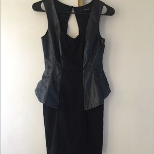 Black vegan leather peplum dress